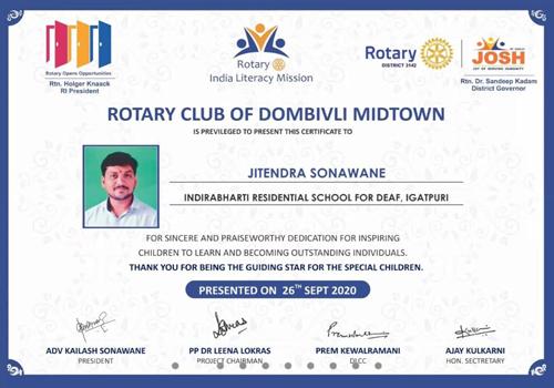 On Teachers day Jitendra Sonawane was awarded as Best Teacher by Rotary Club of Dombivli Midtown & Rotary Club of Thane Down Town.